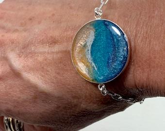 Ocean Bracelet, Sterling silver adjustable bracelet, Ocean Jewelry, Beach Jewelry, bolo bracelet