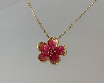 Cherry Blossom Necklace, Gold Cherry Blossom necklace, flower necklace, gold flower necklace