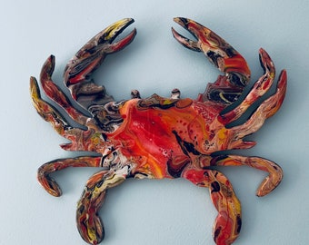 Crab Wall Art, Maryland Crab Wall Art, Maryland Flag Colors Crab, Maryland