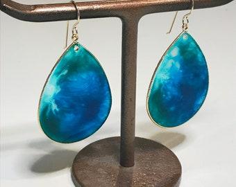 Large Teardrop Earrings in gold, 14KGF Ear Wires, Resin Artwork Earrings, One of a kind Earrings, wearable art, Ocean Inspired Earrings