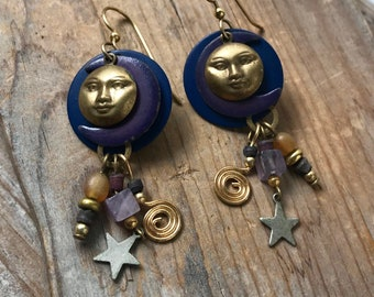 Celestial Earrings Moon and Star With Enameled Metal and Brass Purple Blue Astronomy Gifts Under 30 Gifts For Her
