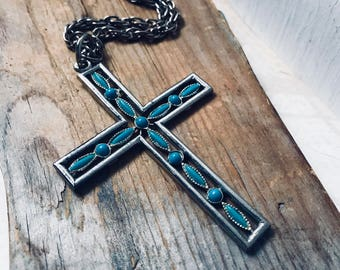 Turquoise Cross Necklace Faux Stone Silver Religious Jewelry Devotional Gifts Spiritual Gifts Under 30 Unisex