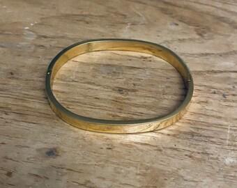 Vintage Bangle Bracelet Shiny Gold Metal Jewelry Costume VGUC