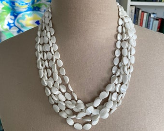 Vintage White Bead Necklace With Rhinestone Clasp Lucite Costume Jewelry VGUC
