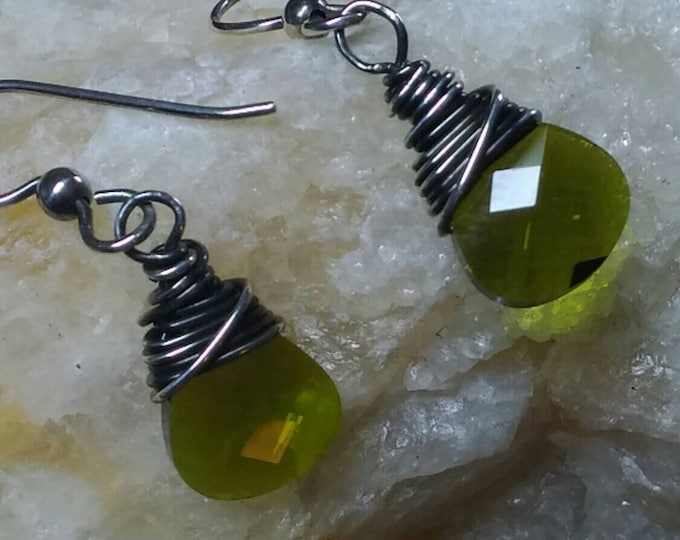 0livine Green Crystal & Sterling Wrapped Earrings