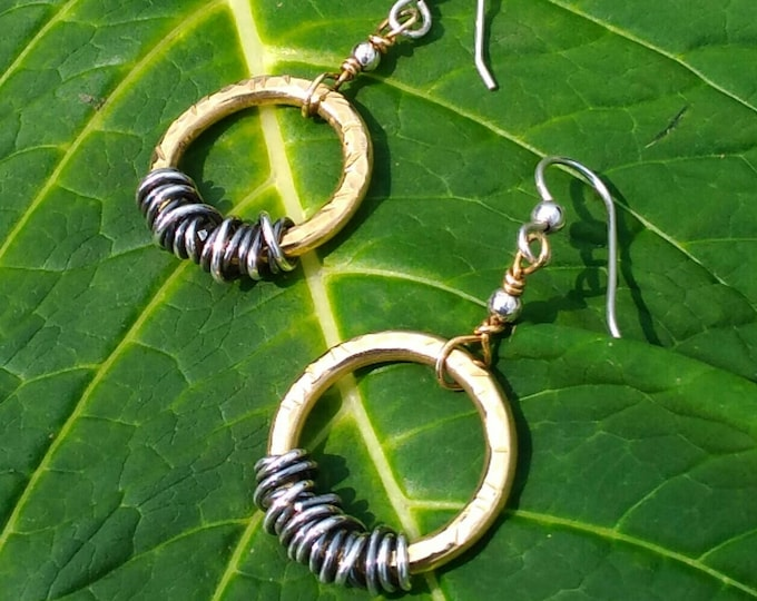 Brass & Sterling Hammered Hoops