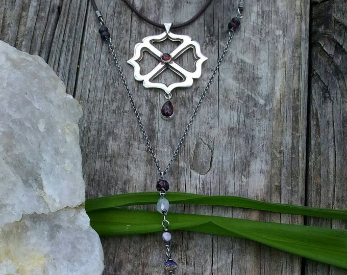 Garnet & Moonstone Y Necklace