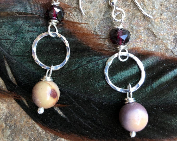 Mookaite & Garnet Sterling Earrings