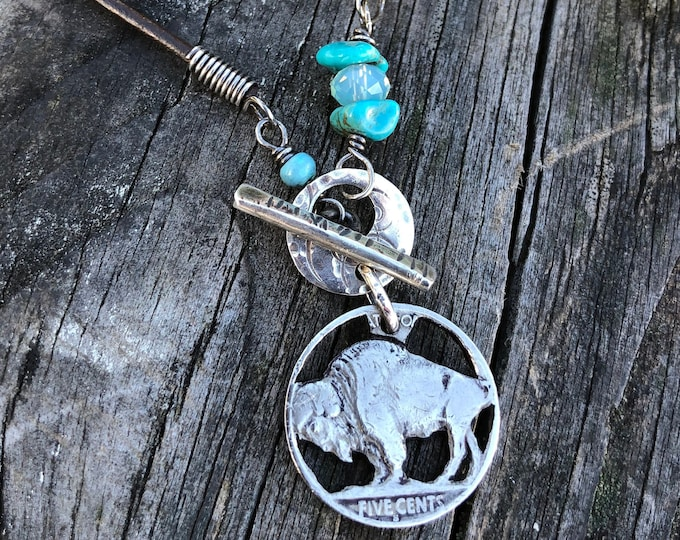 Buffalo Nickel Silhouette Necklace
