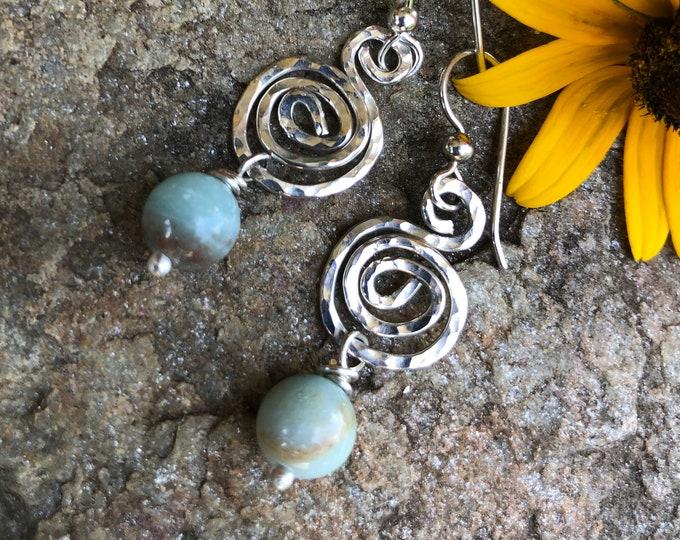Sterling Spiral & Amazonite Earrings