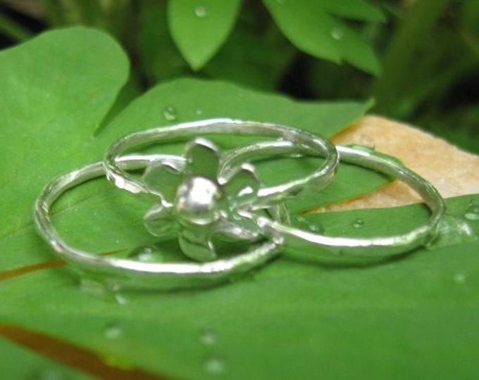 Sterling Flower Stack Rings