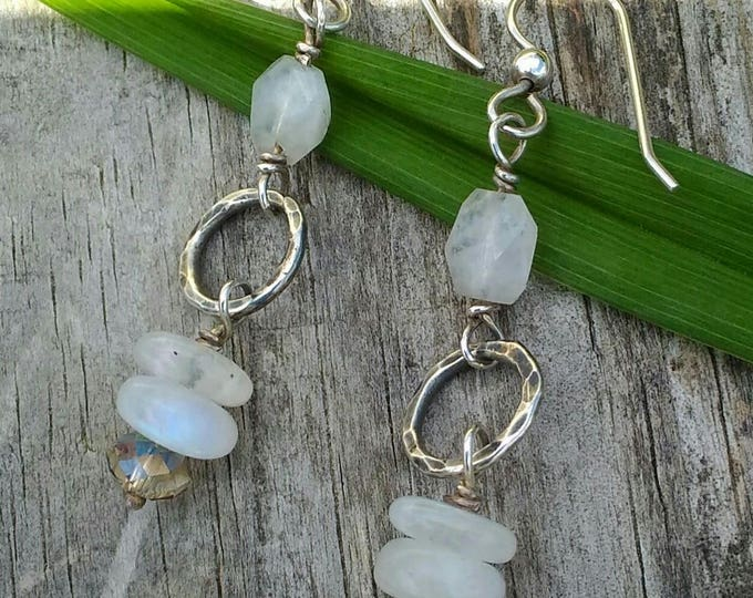Moonstone & Sterling Hoop Earrings