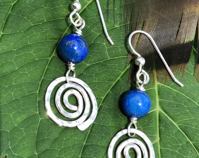 Lapis & Sterling Spiral Earrings