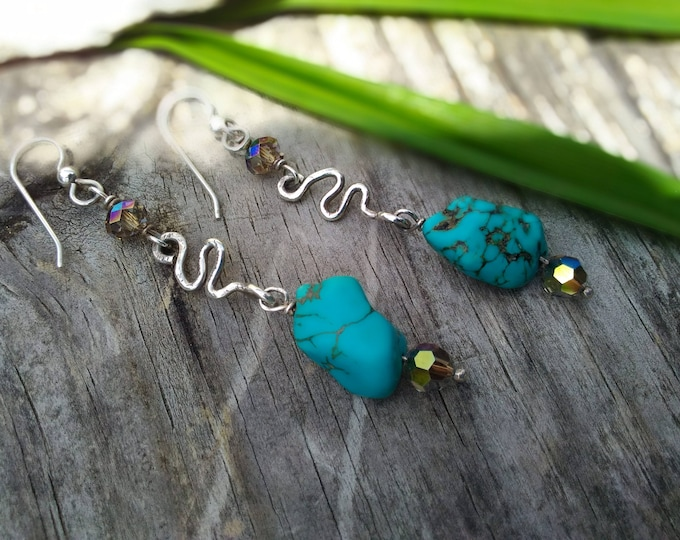 Turquoise and Crystal Sterling Earrings