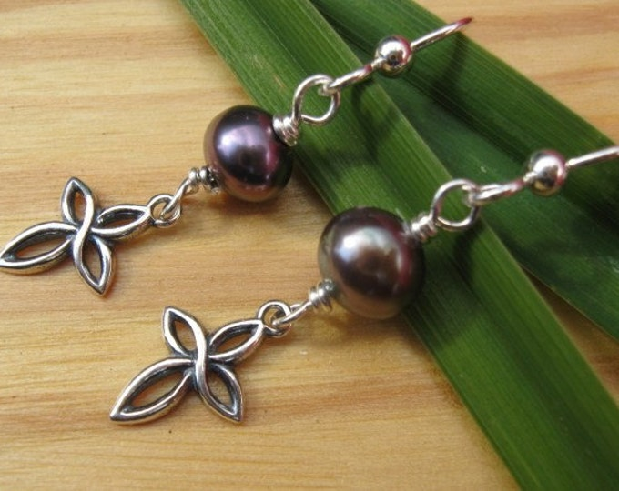 Open Cross and Pearl Earrings
