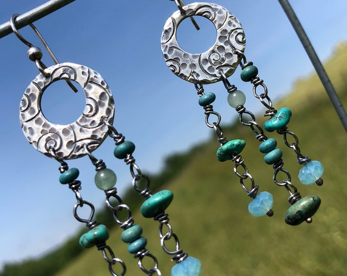 Turquoise Silver Disc Earrings