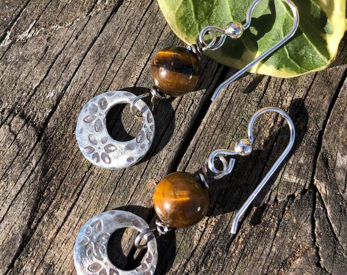 Tiger Eye & Sterling Dangle Earrings