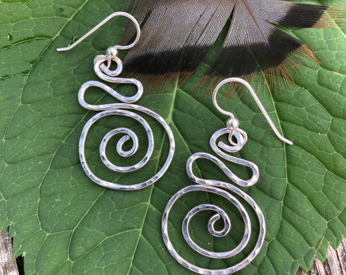 Hammered Silver Spiral Earrings