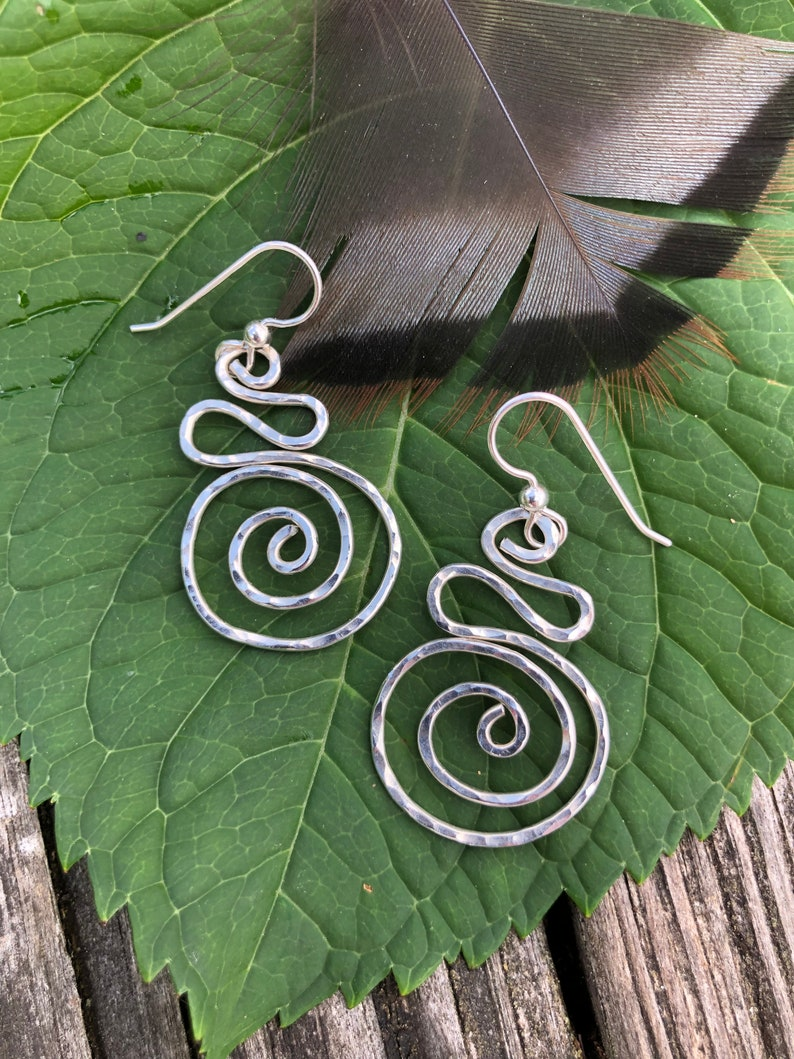 Hammered Silver Spiral Earrings image 0