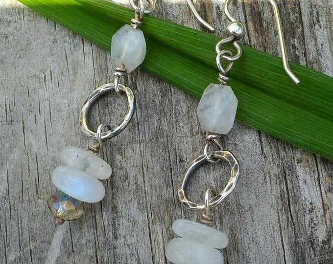 Moonstone & Sterling Hoop Earrings