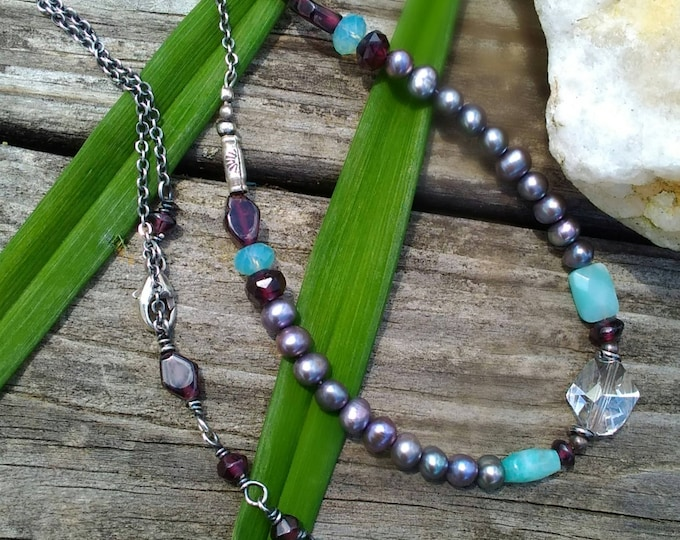 BoHo Multi Stone Necklace with Extender