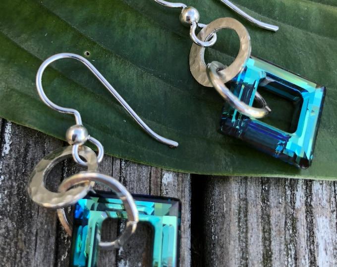 Bermuda Blue Square Earrings
