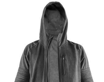 OVERLAND - Men's Hoody - Gray Cotton Zip Hoody Jacket - Front Pockets - Handcast Hardware - Moto Jacket - Luxe Hoodie - Designer Jan Hilmer