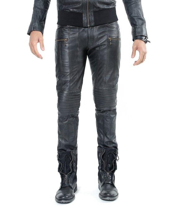 REVOLUTION LEATHER PANTS Heren Lederen Broek Zwarte Lederen Moto Broek 100% Soft Lambskin Monkey Skull Zipper Pull Jan Hilme