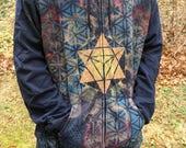 XL Merkaba Metatron's Cube Mandala Sacred Geometry Zip Hoodie w/ Flower of Life, Honeycomb, and Hexagon Tesselation