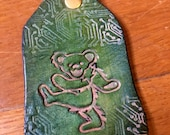 Dancing Bear Grateful Dead Keychain Hand-tooled hand-dyed Cowhide Leather Keychain by LostSailorDesign