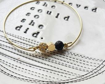 Lava rock mixed bangle in black, essential oil bracelet, delicate modern jewelry