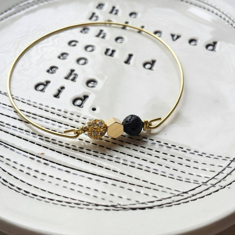 Essential oil diffuser bracelet Lava rock mixed bangle in image 0