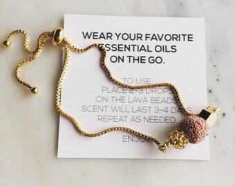 Blush Lava rock bracelet, essential oil bracelet, adjustable bracelet
