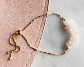 Rose Quartz gemstone bracelet, power gemstones , adjustable gold bracelet
