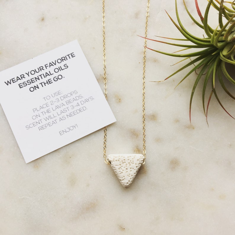 triangle lava rock necklace in white lava triangle delicate image 0