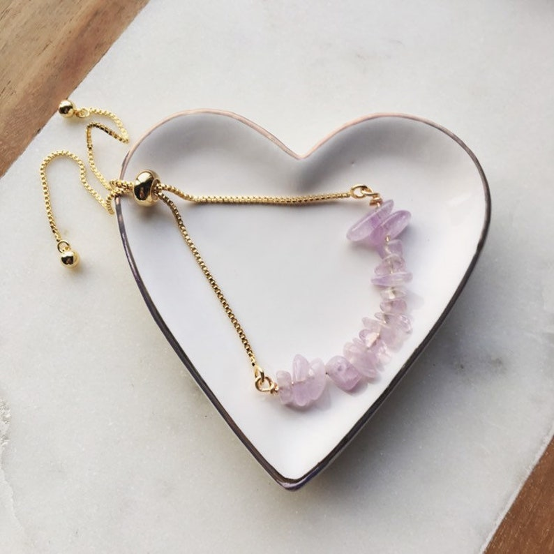 Amethyst gemstone bracelet power gemstones  adjustable gold image 0