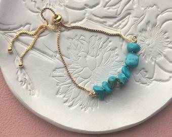 Turquoise howlite gemstone bracelet, power gemstones , adjustable gold bracelet