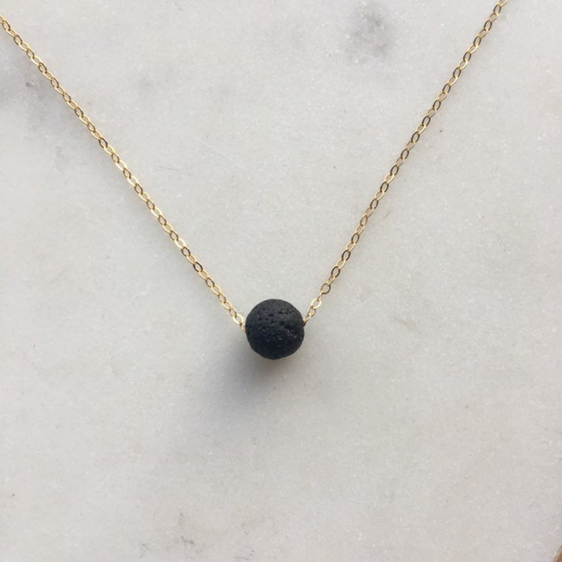Essential oil diffuser necklace  lava bead necklace in black image 0