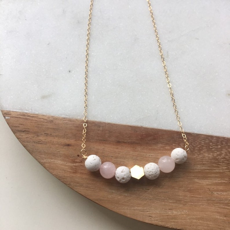 Rose quartz and lava bead necklace white lava and gemstone image 0