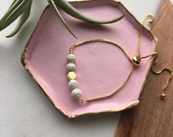 White lava and hex bracelet, adjustable gold bracelet, slider bead bracelet