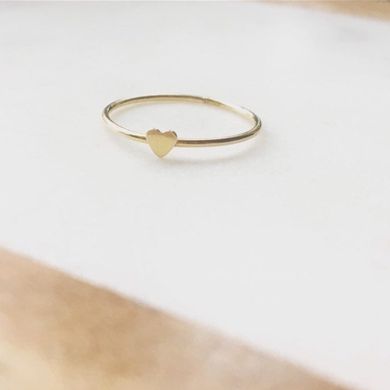 Little heart ring gold filled stacking ring dainty gold image 0