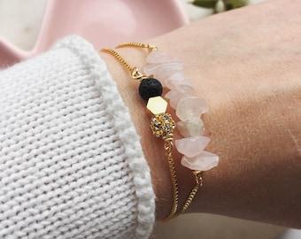 Black lava and hexagon essential oil mixed beads bracelet, essential oil bracelet, adjustable gold bracelet