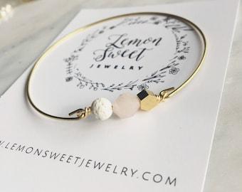 Lava and rose quartz bangle, essential oil bracelet, delicate modern jewelry