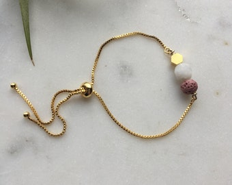 Moonstone and blush lava essential oil mixed beads bracelet, adjustable gold bracelet, slider bead bracelet