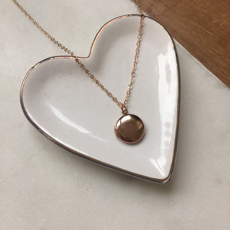 Dainty rose gold locket necklace gift for her small rose image 0