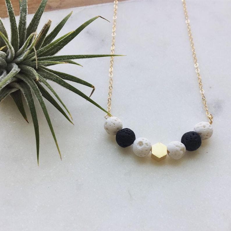 Diffuser bracelet Lava bead necklace black and white lava image 0