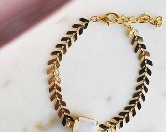 Moonstone chevron link bracelet, gold chevron and moonstone bracelet, pretty modern jewelry