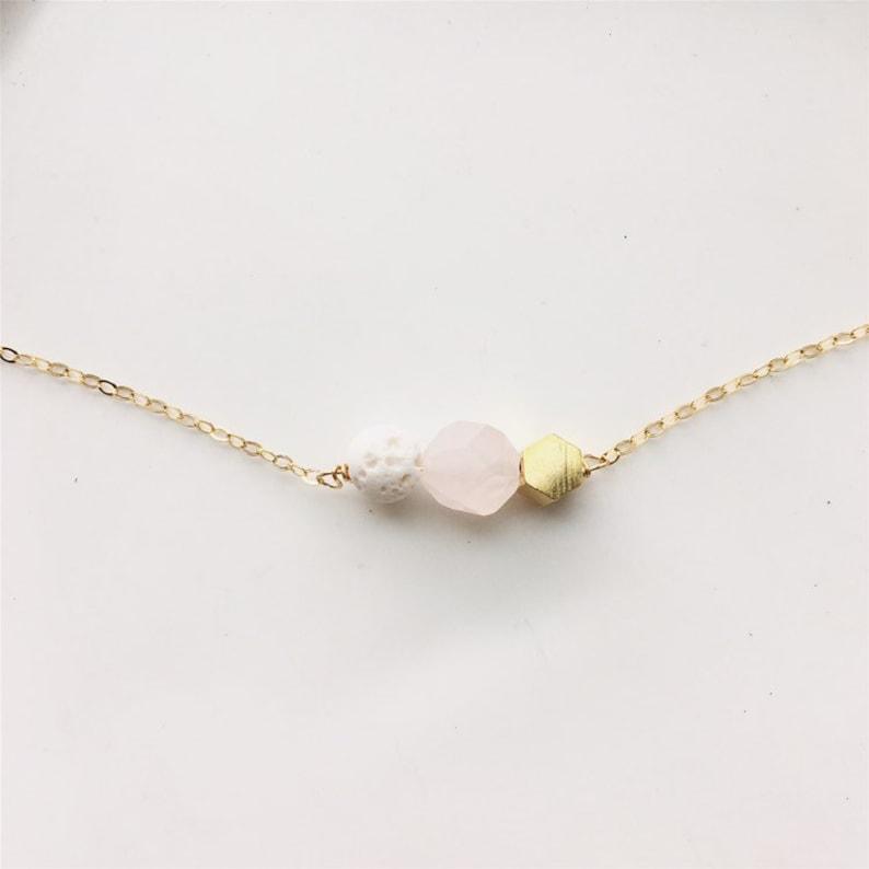 Rose quartz lava necklace white lava and gemstone necklace image 0