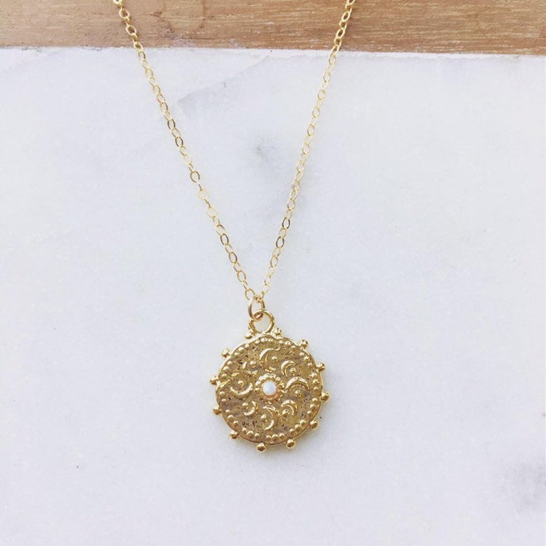Gold coin necklace with opal gem necklace boho necklace image 0