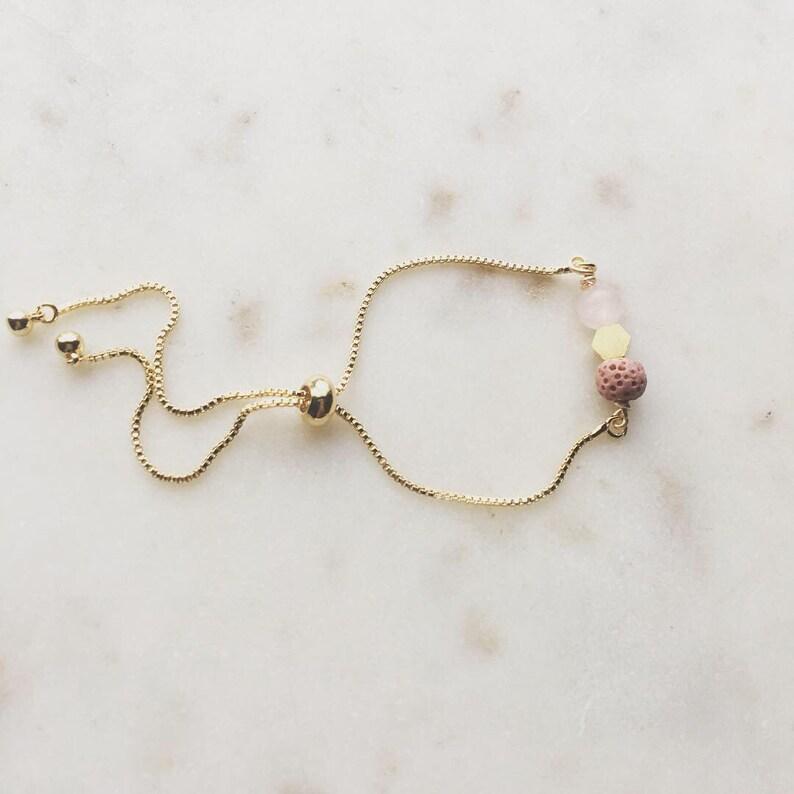 Essential oil diffuser bracelet rose quartz and mauve lava image 0